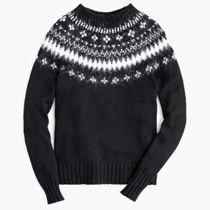 J. Crew Black Fair Isle Wool Blend Sweater L